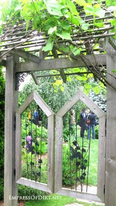 I love the first one, two doors and am overhead trellis. Pretty, I could see it with a bench on top of our hill.