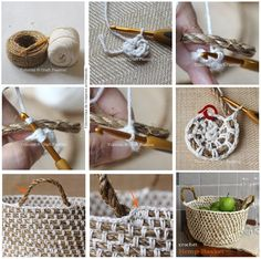diy crochet rope basket --make sure to chain in between sc's (enough to match the length of rope in between), increasing number of chains as the diameter increases in size. Crochet Diy, Crochet Rope, Crochet Basics, Crochet Crafts, Yarn Crafts, Crochet Stitches, Crochet Patterns, Tutorial Crochet, Diy Crafts