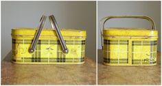 vintage_yellow_picnic #vintage #retro #metal #picnic #basket $38