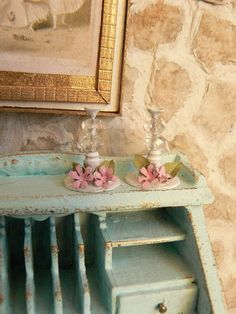 Miniature shabby chic candle holders