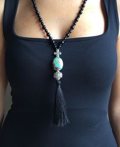 Tassel Necklace, Womens Necklace, Onyx Necklace, Necklace For Women, Gift For Her, Gemstone Necklace, Protection, Beaded Necklace, Turquoise