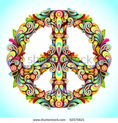 illustration of peace sign made of colorful swirl