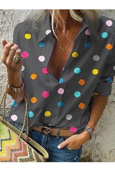 2020 Spring Women Bohemia Dot Print Blouse Pull Blusas Casual Tops Ladies Shirt Chemisier Femme Plus Size Hawaiian Shirt – fashion Half Sleeves, Types Of Sleeves, Shirt Sleeves, Polka Dot Shirt, Polka Dots, Collar Styles, Blouse Online, Printed Blouse, Printed Shirts
