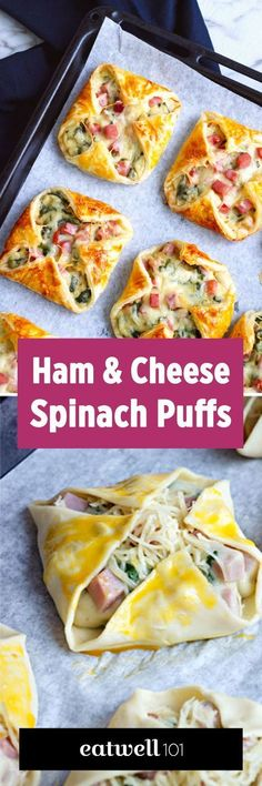 Ham Cheese & Spinach Puffs - - Wow your guests for your next brunch at home with these crisp and melty bites. - : Ham Cheese & Spinach Puffs - - Wow your guests for your next brunch at home with these crisp and melty bites. Spinach Puffs Recipe, Puff Recipe, Spinach Recipes, Ham Recipes, Potato Recipes, Brunch Recipes, Appetizer Recipes, Breakfast Recipes, Brunch Ideas
