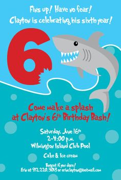 Shark Birthday Invitations Printable Shark Invites Shark Bite Pool - Free shark birthday invitation template