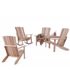 ATHENA - Tete-A-Tete - Chair - Rocker - Set by Individual Patio. $749.00. Tete-A-Tete: 54w x 38d x 39h - ( unassembled kit ). Athena Set Includes: Tete-A-Tete ; Athena Chair ; Rocker Chair. Athena Rocker : 32w x 36d x 42h. Athena Chair : 32w x 36d x 42h. Western Red Cedar - Grade A - Clear Grain - Sanded Finish. For those looking for a matching seating set, we've combined 3 of our most popular outdoor chairs to create a sitting arrangement that works well in any yard or o...
