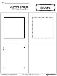 Learning Shapes: Color, Trace, Connect, and Draw a Square: Learn the square shape by coloring, tracing, connecting the dots and drawing with My Teaching Station printable Learning Shapes worksheet.