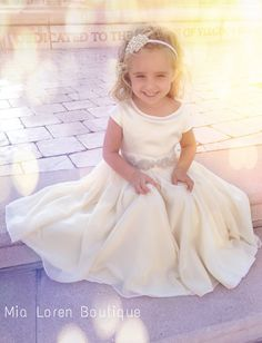 Ivory Flower Girl Dress / Special occasion dress / Rhinestone Sash / Ivory or White / AGES 1-5 on Etsy, $159.99