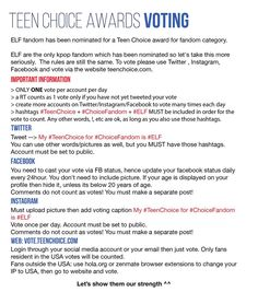 Please follow the rules. Spread to all ELF and SJ fanbases. You can also translate if you want to. TeenChoice