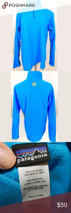 "Patagonia 1/4 Zip Fleece Jacket Electric Blue Bright turquoise blue quarter zip pullover from Patagonia. Has NBC sports logo embroidered on the back. Women's large, 44"" bust and 26"" length. Gently loved with minimal wear. No trades. Patagonia Jackets & Coats"