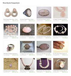 Rose Quartz. Rose Quartz is one of Pantone's 2016 Colors of the Year. It's serene, gentle pink has been linked to healing qualities and it gives a beautiful glow to skin tones. Here are some hard to resist items from the shops of the Vintage Vogue Team... Curator: Cherie from https://www.etsy.com/shop/ElegantArtifacts #etsy #treasury #vogueteam #gemstone #rosequartz #quartz #pink #jewelry #artdeco #beadednecklace #carved