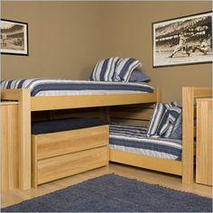 University Loft Graduate L-Shaped Extra Long Twin over Twin Junior Crew Wood Loft Bed in Natural Finish - GRAD-NT-JRCR