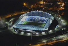 Aerial view of the American Express Community Stadium (Amex), Falmer, Brighton, East Sussex - home ground of Brighton Hovel Albion Brighton & Hove Albion Fc, East Sussex, Club, The Other Side, Aerial View, Pilots, Chopper, Police, Soccer