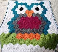 Ravelry: Night Owl Blanket pattern by Kristyn Hertrich Crochet Hexagon Blanket, Afghan Crochet Patterns, Crochet Blankets, Crochet Afghans, Crochet Triangle, Baby Afghans, Baby Blankets, Crochet Owls, Crochet Baby