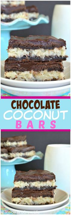 Chocolate Coconut Bars - these easy bars have a creamy coconut filling, chocolate crust, and chocolate glaze! Easy dessert recipe for spring! Best Dessert Recipes, Sweets Recipes, Easy Desserts, Delicious Desserts, Bar Recipes, Recipies, Coconut Desserts, Coconut Bars, Coconut Recipes