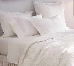 Ruched Voile Duvet Cover & Sham - White #potterybarn