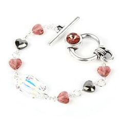 Learn how to make this Swarovski Blush Rose Bracelet using a Swarovski Crystal emerald cut bead in Crystal AB, gorgeous new Swarovski Crystal Love Beads in Blush Rose and an antique silver SS39 round toggle clasp!