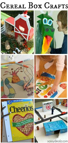 Kid's Crafts & Activities Made out of Cereal Boxes #Cereal Box art projects #DIY | http://www.sassydealz.com/2014/02/kids-crafts-activities-made-cereal-boxes.html