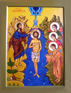 Baptism of Jesus   Click To Enlarge, Original Icon by Iconographer Tamara