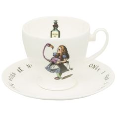 Alice Teacup & Saucer (51 NZD) ❤ liked on Polyvore featuring home, kitchen & dining, drinkware and bone china