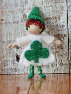 Waldorf Style St. Patrick's Day Lucky Shamrock Gnome, by ACuriousTwirl,  via Etsy.