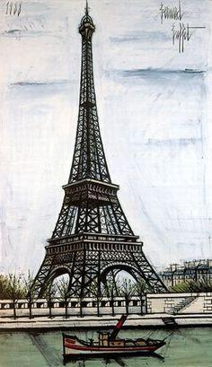 La tour Eiffel - 1988 oil on canvas - 195 x 114 cm by Bernard BUFFET ( 1928 - 1999 ) Tour Eiffel, Paris Torre Eiffel, Paris Kunst, Art Parisien, Eiffel Tower Art, Illustrator, Paris Painting, Paris City, Art Moderne