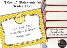 Are you a teacher in Ontario?  Check out these Learning Goals (I can statements) based on the  Ontario Curriculum, available for Grades 1 to 8, in French and in English!