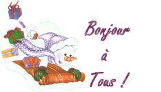 Bonjour à tous - Bonhomme de neige - Luge - Gif scintillant - Gratuit