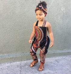 African Ankara Dashiki Print Jumpsuit Outfit - Baby Girl Toddler Kids - sizes - Black Dashiki - Jumpsuits and Romper Ankara Styles For Kids, African Dresses For Kids, Latest African Fashion Dresses, African Print Fashion, African Babies, African Prints, Ankara Fashion, Cute Kids Fashion, Little Girl Fashion
