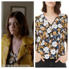 Pretty Little Liars: Season 7 Episode 2 Aria's V-Neck Floral Printed Top |