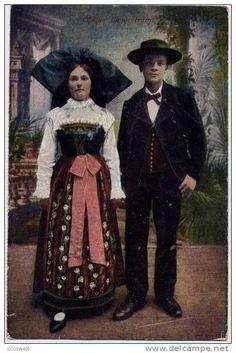 Alsace Costume alsacien Couples  Elsass Tracht Elsässer Landestracht Paar Mann Frau  Feldpost 1916