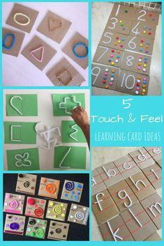 Touch and Feel Learning Cards – Teach Me Mommy Touch & Feel learning cards, for kids learning letters, colors, shapes etc by using the tactile sense! Tactile Activities, Motor Skills Activities, Preschool Learning Activities, Toddler Activities, Preschool Activities, Teaching Kids, Kids Learning, Visually Impaired Activities, Learning Cards