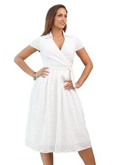 Amazon.com: Jessica London Women's Plus Size Cotton Eyelet Dress: Clothing