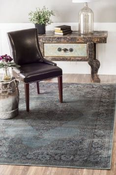 $5 Off when you share! Beaumont Medallion VI03 Marine Rug   Traditional Rugs #RugsUSA