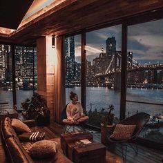 1 Hotel Brooklyn Bridge ~ New York Apartment View, New York City Apartment, Dream Apartment, City Apartments, Manhattan Apartment, Apartment Goals, Apartment Therapy, Loft Interior, Modern Interior Design