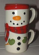 Coffee Mug Cup Latte Tea Hallmark Snowman Set of 2 Christmas  #coffee #tea #latte #mug #cup #brew #Morning