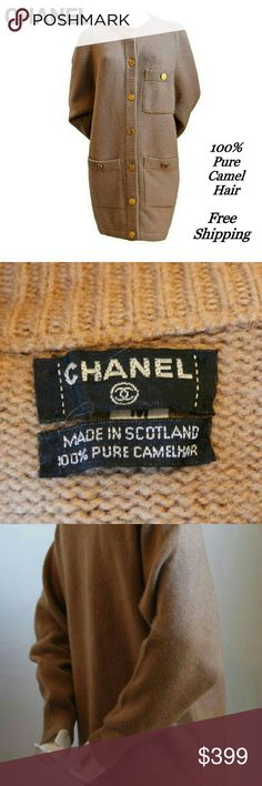 """CHANEL Authentic Long Cardigan Pure Camel Hair Final reduction on this CHANEL Collector's Classic! Free shipping through April 7   Luxurious, exquisitely soft CHANEL long cardigan sweater. 100% Pure Camel Hair. Pristine condition. All TEN Classic signature CHANEL gold-tone buttons w/ purse engraving. True camel color.  This stunning vintage CHANEL cardigan ships FREE via UPS 2nd Day Air.  Measurements: Fits sizes 8-12. Overall length is 34"""". Layer it OR wear as a luxe fall/winter/spring…"""