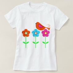 colorful bird with colorful flowers T-Shirt - click to get yours right now!