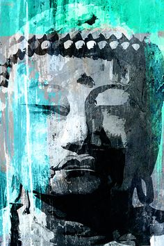 Zen home decor art print of BUDDHA in exotic cool gray, green and blue, Poster size art print available in multiple sizes.