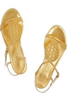 Bottega Veneta|Intrecciato metallic leather sandals|NET-A-PORTER.COM