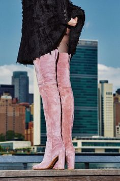 pink suede boots
