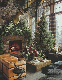 Rustic Christmas Decor: Ski House by Ken Fulk in Elle Decor on Hello Lovely. Elle Decor, Rustic Christmas, Christmas Home, Christmas Trees, Christmas Fireplace, Magical Christmas, Cabin Christmas Decor, Beautiful Christmas, Modern Christmas