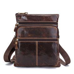 c53097439 US$36.68 - Ekphero Vintage Casual Sling Bag Genuine Leather Crossbody Bag  Shoulder Bag For Men