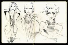 Mole fashion sketches/part 1 by Alena Lavdovskaya, via Behance
