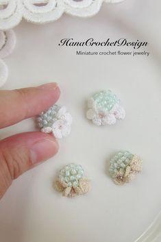HanaCrochetDesign wedding jewelry - miniature flower earrings - handmade jewelry
