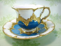 Meissen GoldGilt and Teal Blue Cup and Saucer