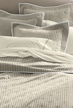 Pin striped bedding--omg, I love:) Striped Quilt, Striped Bedding, Home Bedroom, Bedroom Decor, Master Bedrooms, Bedroom Ideas, Neutral Bedrooms, Simple Bed, Barbie Dream House
