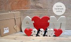 First Name Letter With Heart And Anniversary Date Wood Puzzle