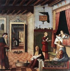 """Renaissance interior depicting the birth of the Virgin, by Vittore Carpaccio, 1502-1504.  """"In this sacred scene of The Birth of Mary we catch a glimpse of domestic life inside a typical Venetian palace. While wet nurses tend to the newborn Mary, a woman approaches new mother Anne with a traditional first meal in a majolica bowl: the porridge-like dish of biancomangiare.""""--Emiko Davies"""