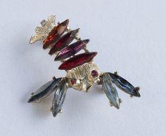 Vintage Doddz Dodds Rhinestone Lobster or Crayfish Pin Brooch   eBay